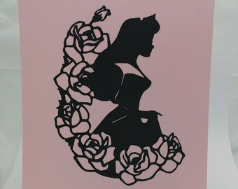 "Princess Aurora Inspired Cut Paper Silhouette Portrait 8"" x 10"" Cut Out Art Portraits"