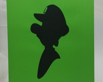 """Luigi Inspired Cut Paper Silhouette Portrait 8"""" x 10"""" Cut Out Art Portraits"""