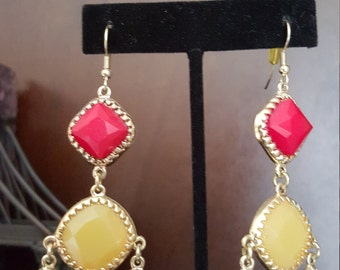 green red and yellow chandelier earrings