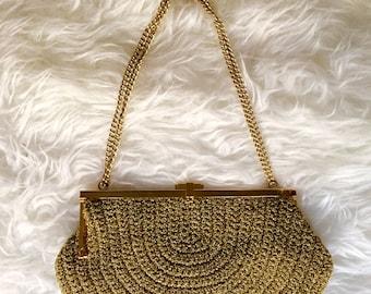 Vintage golden clutch/ Vintage Wristlet / Golden handbag/ Vintage Weave-bag