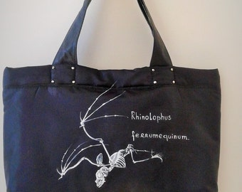Padded nylon bag made and painted by hand. Bat. Evolution Rhinolophus. Handmade bag.