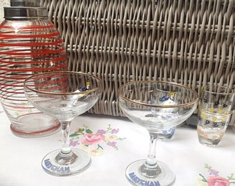 Champagne glasses: two 1970s vintage Babycham glasses with sweet deer motif,  great vintage champagne glasses, very collectable