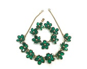 Vintage 1950s Emerald Green Poured Glass Trifari Flower Necklace and Matching Bracelet by Alfred Phillipe