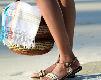 Raha Beaded Maasai leather Sandals, white beads and shells, cruelty free leather made in Kenya