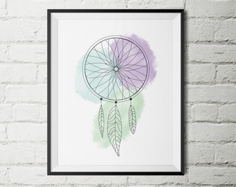 Dream Catcher Water Colour Print - Home Decor - Instant Download - Wall Art - Digital Print - Dream Print