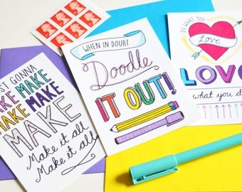 Maker's motivation postcard pack. Inspirational, colourful, typographic, pack of 3 postcards