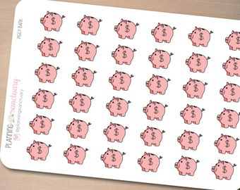 Piggy Bank | Savings | Money | Payday Reminder Planner Stickers Perfect for Erin Condren, Kikki K, Filofax and all other Planners