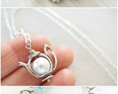 Pick Color Tea Party Tiny Teapot Necklace Gemstone or Pearl Pendant Petite Charm Fun Jewelry Sterling Silver Chain Alice in Wonderland