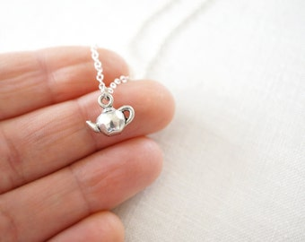 Tiny Teapot Necklace Smallest Pendant Petite Charm Minimal Jewelry Sterling Silver Chain Alice in Wonderland Girlfriend Gift For Her