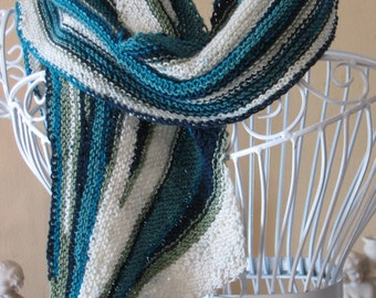 Teal and White Striped Scarf
