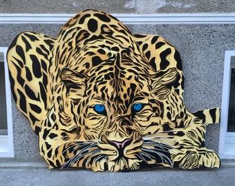 Huge handmade Leopard mural art
