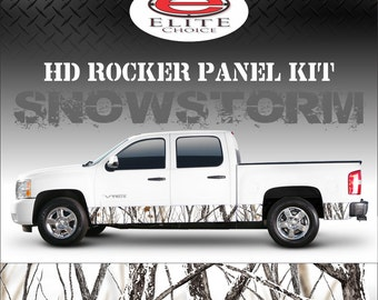 "Snowstorm Camo Rocker Panel Graphic Decal Wrap Truck SUV - 12"" x 24FT"