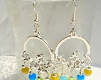 Earrings yellow flowers, green and blue
