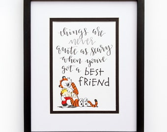 """Calvin and Hobbes """"Best Friend"""" Quote Handlettered Print"""