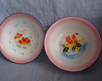 Mid Century Set of 2 Enamel Bowls with Flowers Design