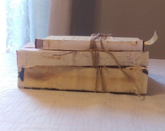 Set of 3 Unbound Vintage Books Wrapped in Twine, Farmhouse Decor, Urban texture, photo prop, want-David decor