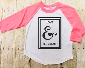 Love and Ice Cream Girls Shirt Tee Shirt Hipster Shirt Girls Babies Toddlers T-shirt