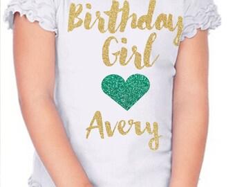 Birthday Girl shirt, glitter birthday girl shirt, gold and mint glitter shirt, personalized birthday girl shirt, glitter girl birthday