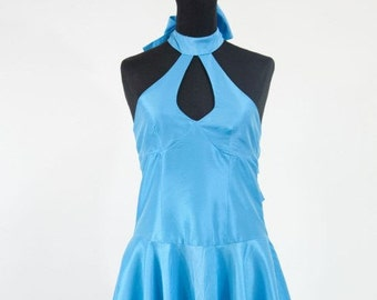 Dress, cocktail dress, wedding dress, turquoise taffeta gown, dress, evening dress, bridesmaid dress, prom dress