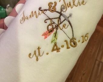 Monogram stadium blanket Wedding Gift blanket favor cover up