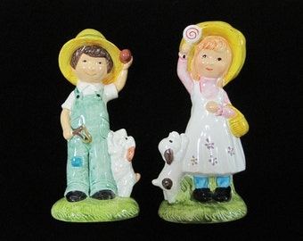 Ceramic Figurines, Prairie Boy & Girl with Puppies, Vintage, Japan