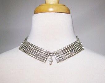Vintage Rhinestone Bib Necklace choker clear rhinestones silver tone metal