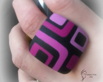 Pink retro ring / Square ring / Polymer clay ring