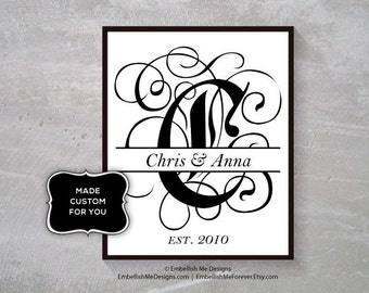 8x10 Customized, Fancy Letter, Initial, Wedding, Anniversary Gift, Unique, One-of-a-kind, Printable