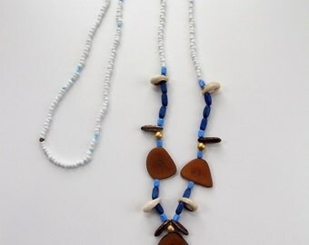 Blues.AMA boho chic tribal summer festival wood beads necklace
