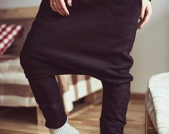 Black yoga pants/ Organic Cotton pants/ Black Harem pants/ Drop Crotch Pants / Black Pants / Loose Pants / Yoga Pants / Harem pants women