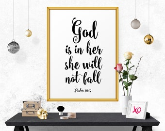 Typography Poster, God is In Her She Will Not Fall - Psalm 46:5, Bible Verse Print, Wall Decor, Calligraphy, Scandinavian Print