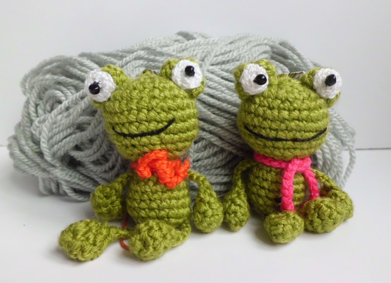 Amigurumi Green Frog : Crochet Frog Keychain frog Stuffed Frog Amigurumi by ...