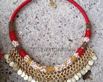 Tribal jewelry Tribal necklace Bohemian necklace Ethnic jewelry Gypsy necklace Statement necklace Boho necklace