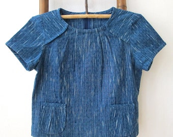 Natural Indigo dyed hand spun & hand woven top with petit patch pockets - IB2