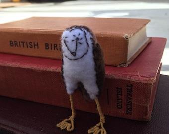 Barn Owl soft sculpture, felt sculpture