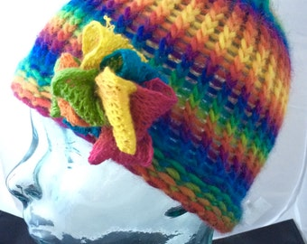 Hand Knitted - Rainbow Stripe Beanie Hat - Flower Detail - Ready to Ship - One Only