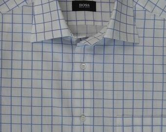 Hugo Boss vintage 1990's short sleeved smart white shirt with blue window pane check