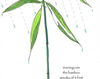 Bamboo card, rain card haiku, poetry card, basho haiku, literary card, garden greeting card, nature lover card, rain lover card, notecard