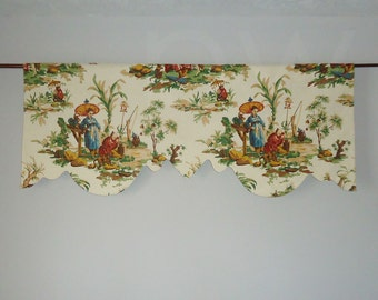 Kravet Singerie Chinoiserie Scalloped Valance, Lined