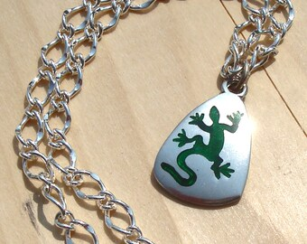 Lizard Pendant on a Chain, with Matching Earrings