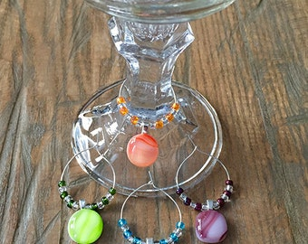 Beaded Fused Glass Wine Charms