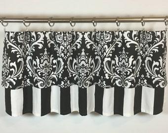 Black & White Damask Valance -  FREE SHIPPING - Striped Valance - 50x16 - Cotton Lined - Rod Pocket - Curtain