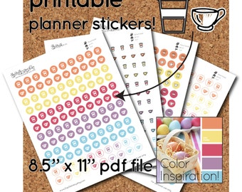 Printable Coffee and Tea Stickers - half-inch round - 120 per sheet - organization stickers for planners and calendars