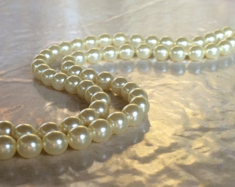 Cream / Ivory Swarovski Pearls ~ 6mm ~ (Strand of 80) Beads Model SW5810 ~ (#7552) Antique, Victorian