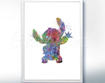 Disney Lilo and Stitch Watercolor Poster Print - Watercolor Painting - Watercolor Art - Kids Decor- Nursery Decor