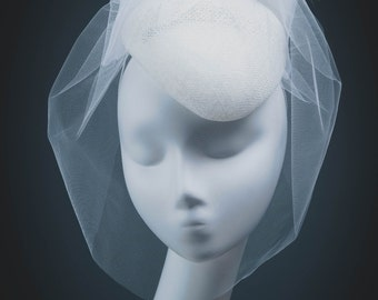 Bridal Fascinator, Veiled Bridal Headpiece, Bridal Accessory, Bridal Mini Hat, Wedding Hat