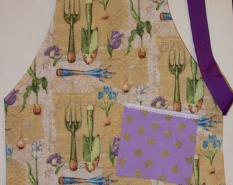 Garden Apron, Purple Apron, Plant Organically Apron, Two Sided Apron, Girl Apron, Reversible Apron, Waldorf Apron, Flowers Butterfly Apron