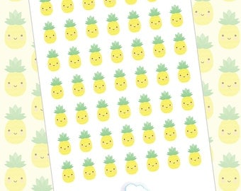 Cute pineapples - 42 summer planner stickers  - glossy kawaii stickers for your planner - cute summer stickers