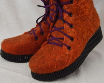 Boots for women Handmade shoes Outdoor felted boots with PU soles. Eco fashion shoes for women. Rred-haired brown-color
