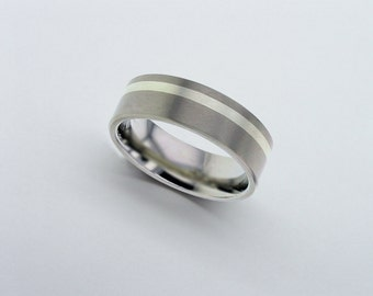 White Gold Titanium Band, Inlaid Titanium Wedding Band, 9 Carat Gold Ring, Mens Wedding Band, Personalised Band